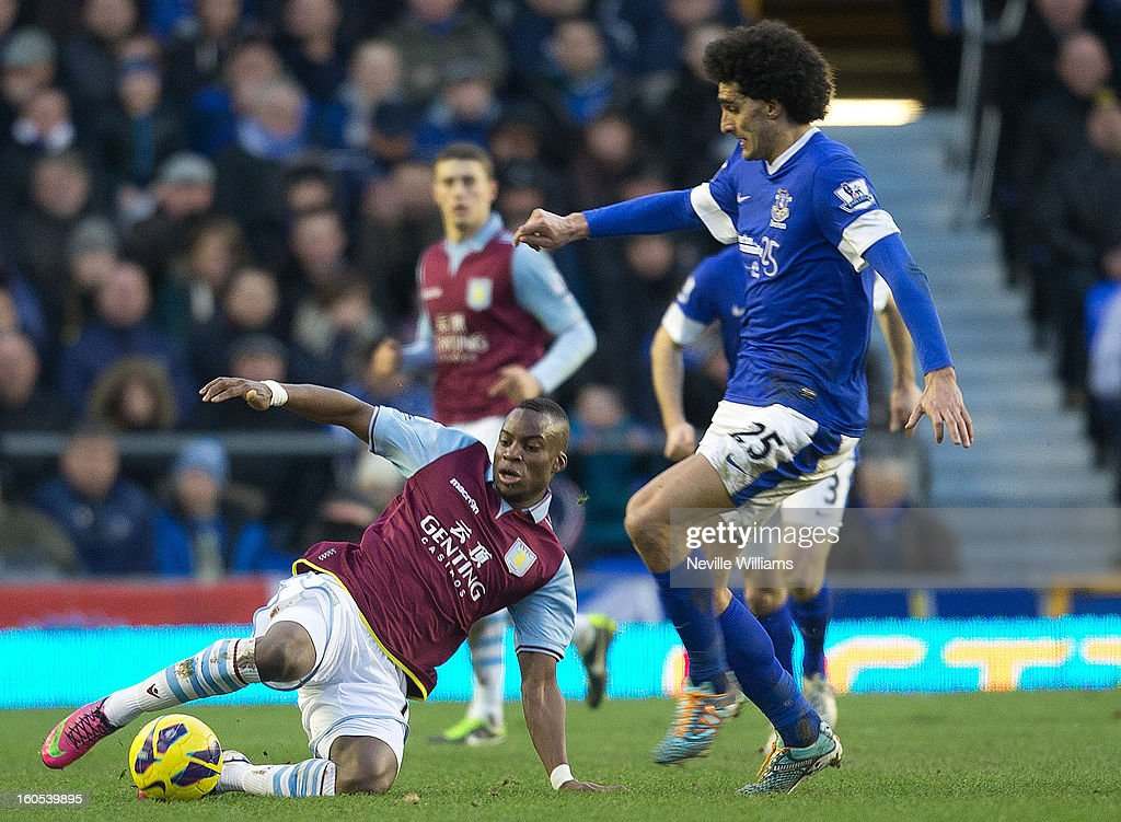 Yacouba Sylla of Aston Villa is challenged by Marouane Fellani of Everton during the Barclays Premier League match between Everton and Aston Villa at Goodison Park on February 02, 2013 in Liverpool, England.