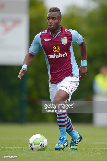 Yacouba Sylla of Aston Villa runs with the ball during the international friendly match between SV Roedinghausen and Aston Villa at Haecker...