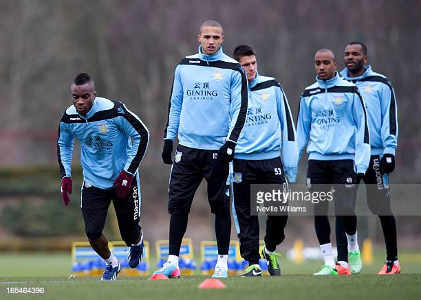 Yacouba Sylla of Aston Villa training with his team mates during a Aston Villa training session at the club's training ground at Bodymoor Heath on...