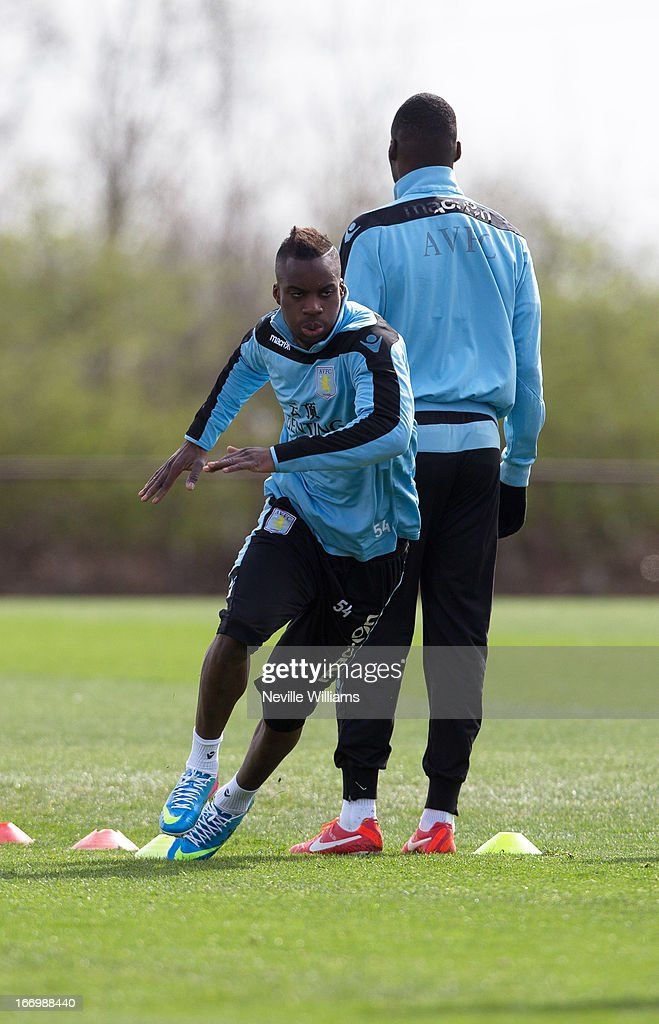 <a gi-track='captionPersonalityLinkClicked' href=/galleries/search?phrase=Yacouba+Sylla&family=editorial&specificpeople=7427297 ng-click='$event.stopPropagation()'>Yacouba Sylla</a> of Aston Villa trains with his team mates during a Aston Villa training session at the club's training ground at Bodymoor Heath on April 19, 2013 in Birmingham, England.