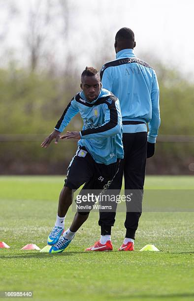Yacouba Sylla of Aston Villa trains with his team mates during a Aston Villa training session at the club's training ground at Bodymoor Heath on...