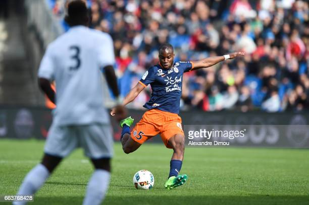 Yacouba Sylla of Montpellier during the French Ligue 1 match between Montpellier and Toulouse at Stade de la Mosson on April 2 2017 in Montpellier...