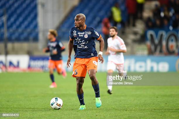 Yacouba Sylla of Montpellier during the Ligue 1 match between Montpellier Herault SC and Fc Lorient at Stade de la Mosson on April 15 2017 in...