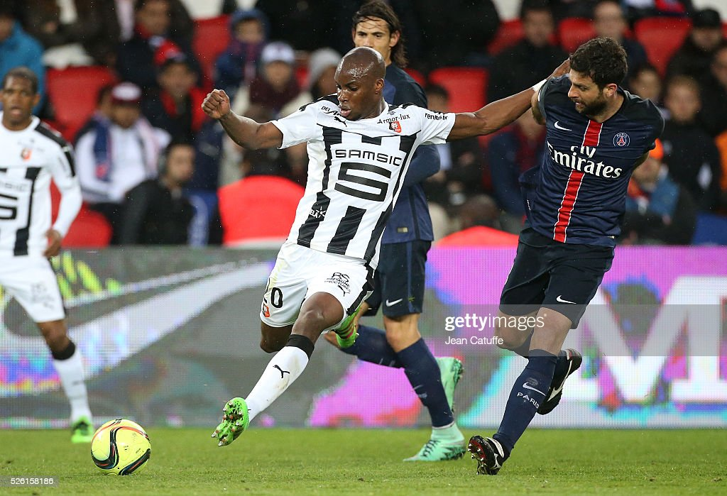 <a gi-track='captionPersonalityLinkClicked' href=/galleries/search?phrase=Yacouba+Sylla&family=editorial&specificpeople=7427297 ng-click='$event.stopPropagation()'>Yacouba Sylla</a> of Rennes and <a gi-track='captionPersonalityLinkClicked' href=/galleries/search?phrase=Thiago+Motta+-+Brazilian+Soccer+Player+-+Born+1982&family=editorial&specificpeople=631059 ng-click='$event.stopPropagation()'>Thiago Motta</a> of PSG in action during the French Ligue 1 match between Paris Saint-Germain (PSG) and Stade Rennais FC at Parc des Princes stadium on April 29, 2016 in Paris, France.