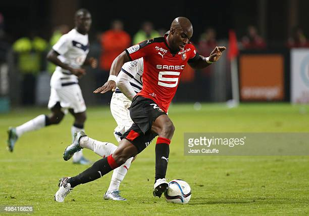 Yacouba Sylla of Rennes in action during the French Ligue 1 match between Stade Rennais and Girondins de Bordeaux at Roazhon Park stadium on November...