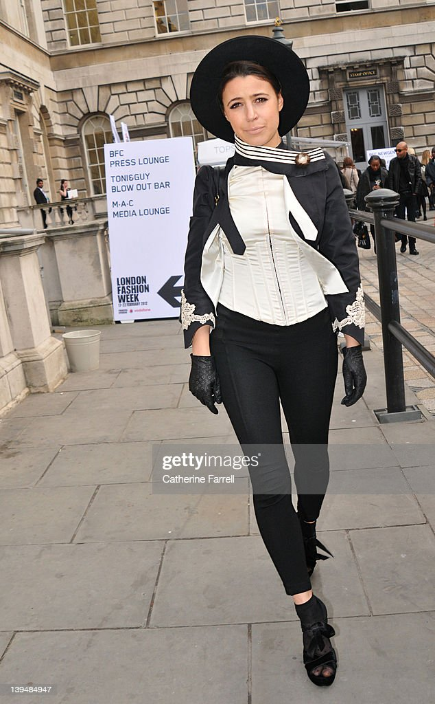 Yadi, pop singer (Warner Label), Vintage two tone black and white Dolce & Gabbana leather jacket, WZara black trousers, Marc Jacobs bag and Black boots Top Shop at London Fashion, Autumn/Winter 2012 at on February 22, 2012 in London, England.