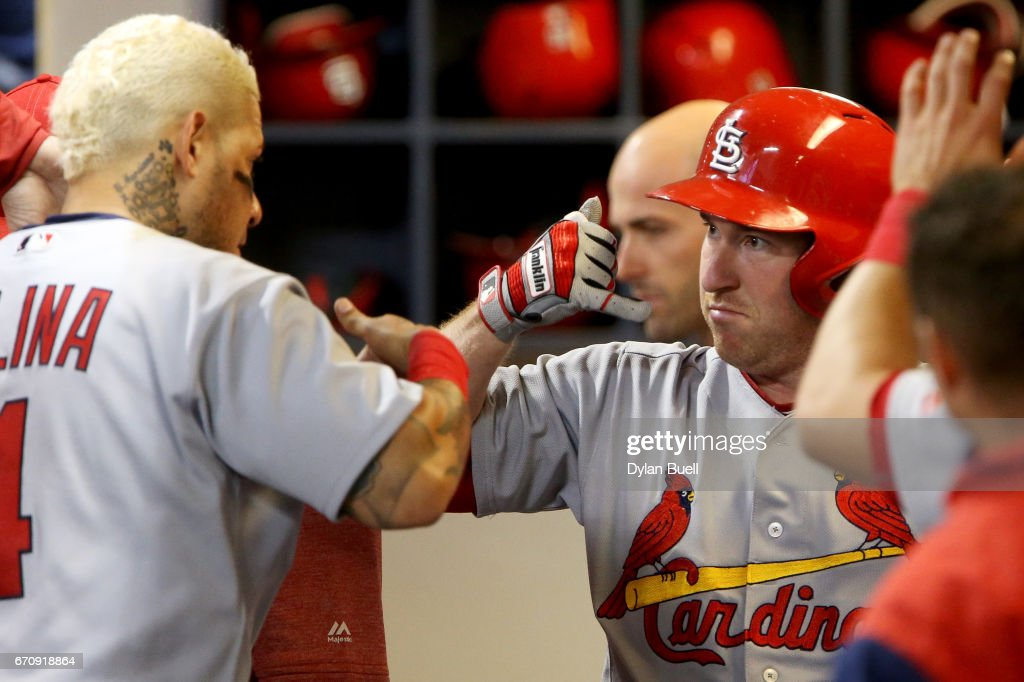Yadier Molina #4 and Jedd Gyorko #3 of the St. Louis Cardinals celebrate after Gyorko hit a home run in the eighth inning against the Milwaukee Brewers at Miller Park on April 20, 2017 in Milwaukee, Wisconsin.