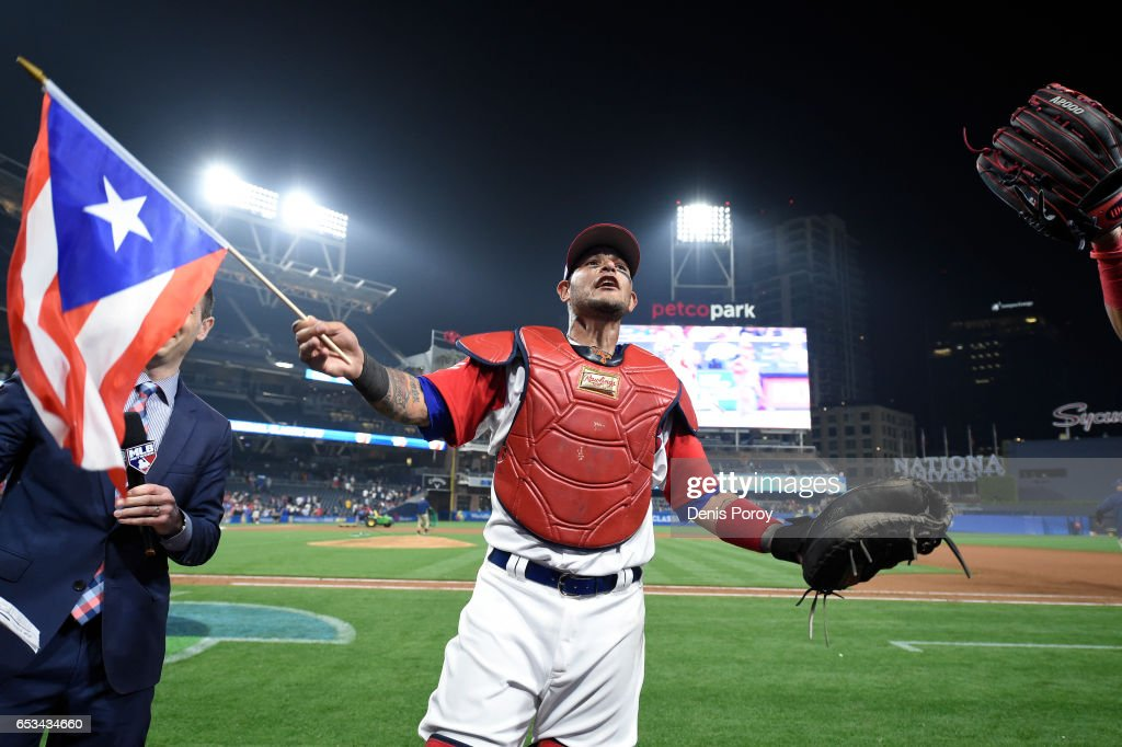 Yadier Molina #4 of Puerto Rico celebrates after Puerto Rico beat the Dominican Republic 3-1 in the World Baseball Classic Pool F Game One at PETCO Park on March 14, 2017 in San Diego, California.