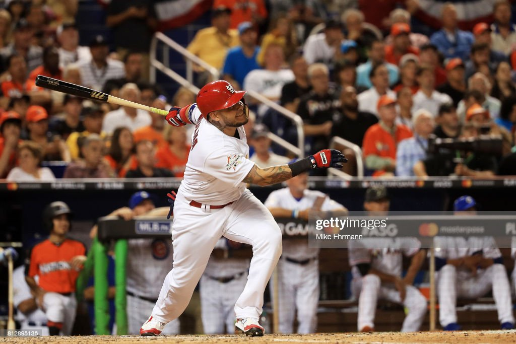 Yadier Molina #4 of the St. Louis Cardinals and the National League reacts after hitting a solo home run in the sixth inning against the American League during the 88th MLB All-Star Game at Marlins Park on July 11, 2017 in Miami, Florida.