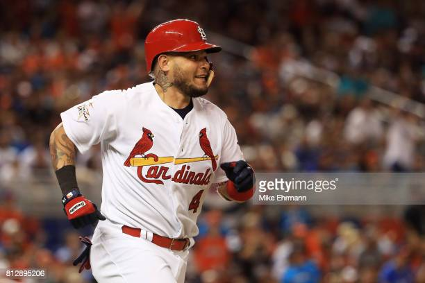 Yadier Molina of the St Louis Cardinals and the National League runs the bases after hitting a solo home run in the sixth inning against the American...