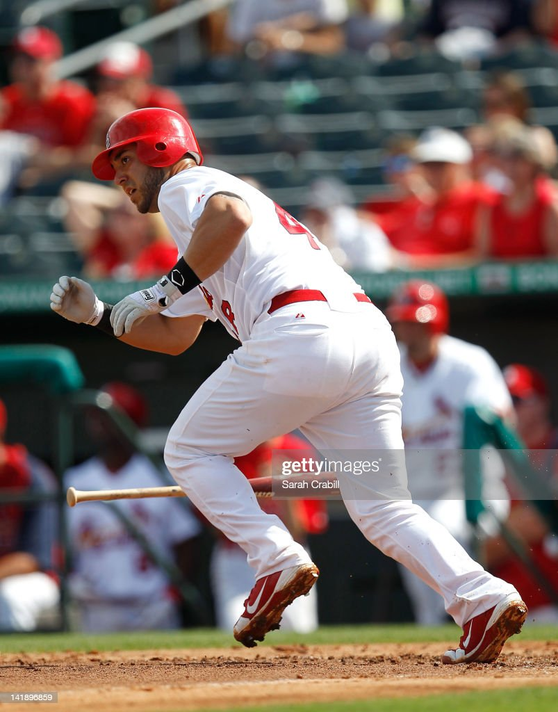 <a gi-track='captionPersonalityLinkClicked' href=/galleries/search?phrase=Yadier+Molina&family=editorial&specificpeople=172002 ng-click='$event.stopPropagation()'>Yadier Molina</a> #4 of the St. Louis Cardinals bats during a game against the Minnesota Twins at Roger Dean Stadium on March 25, 2012 in Jupiter, Florida. The St. Louis Cardinals defeated the Minnesota Twins 9-2.