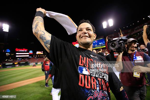 Yadier Molina of the St Louis Cardinals celebrates after defeating the Los Angeles Dodgers in Game Four of the National League Divison Series at...
