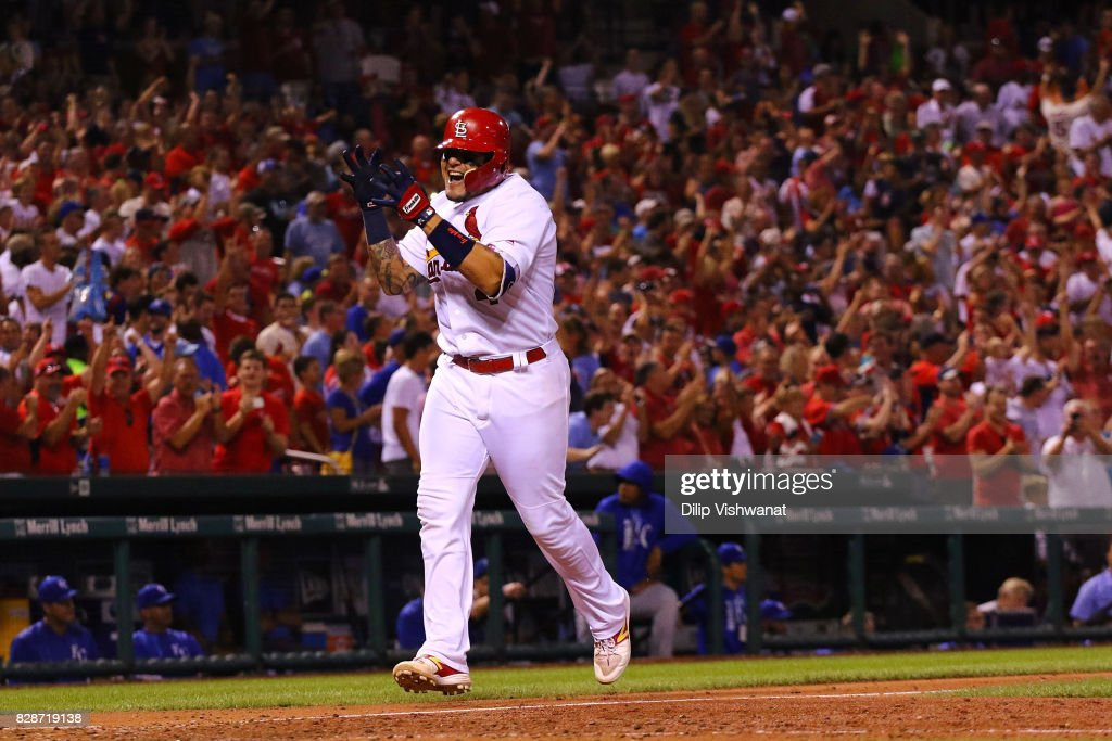 Yadier Molina #4 of the St. Louis Cardinals celebrates after hitting a grand slam against the Kansas City Royals in the sixth inning at Busch Stadium on August 9, 2017 in St. Louis, Missouri.
