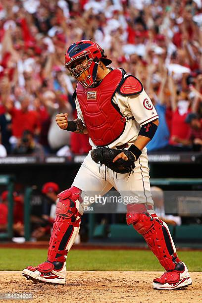 Yadier Molina of the St Louis Cardinals celebrates after the final out against the Los Angeles Dodgers during Game Two of the National League...