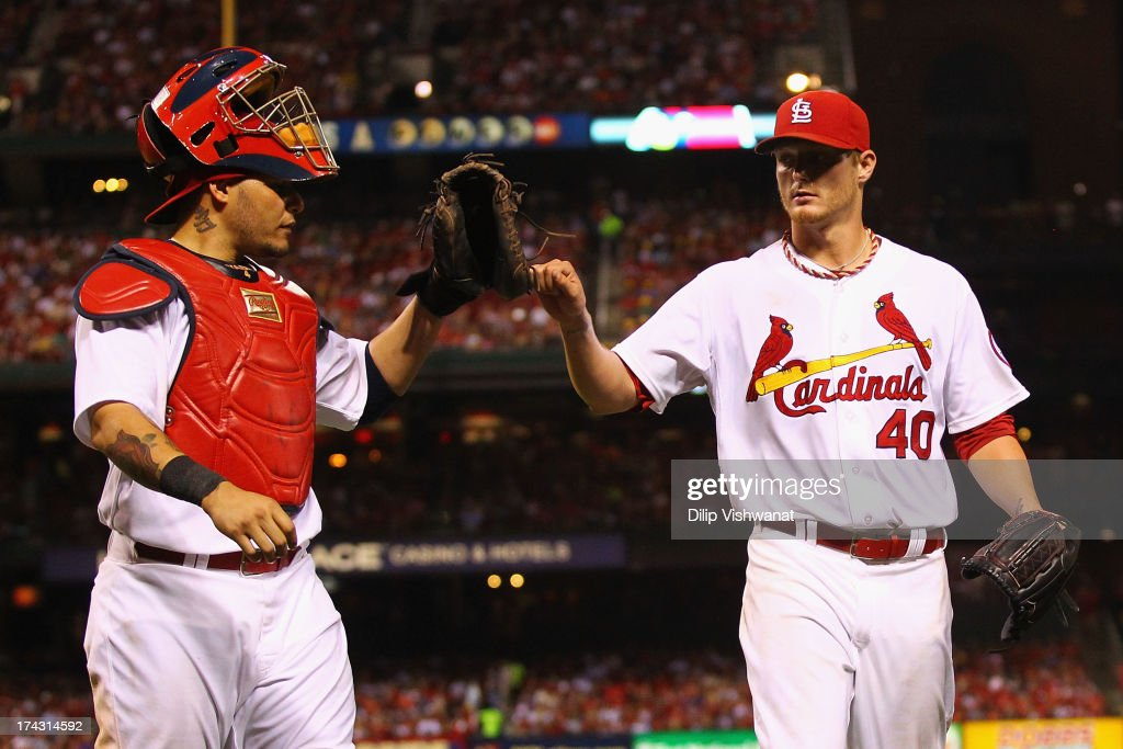 <a gi-track='captionPersonalityLinkClicked' href=/galleries/search?phrase=Yadier+Molina&family=editorial&specificpeople=172002 ng-click='$event.stopPropagation()'>Yadier Molina</a> #4 of the St. Louis Cardinals congratulates starter <a gi-track='captionPersonalityLinkClicked' href=/galleries/search?phrase=Shelby+Miller&family=editorial&specificpeople=4761626 ng-click='$event.stopPropagation()'>Shelby Miller</a> #40 also of the St. Louis Cardinals after Miller recorded is last out against the Philadelphia Phillies at Busch Stadium on July 23, 2013 in St. Louis, Missouri.
