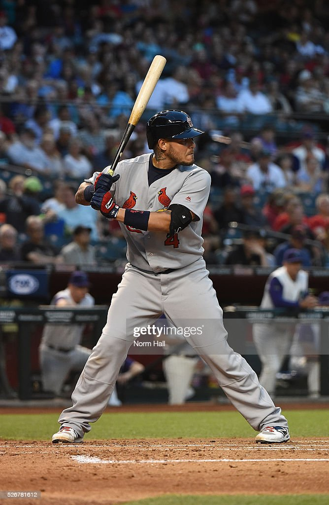 Yadier Molina #4 of the St Louis Cardinals gets ready in the batters box against the Arizona Diamondbacks on April 28, 2016 in Phoenix, Arizona.