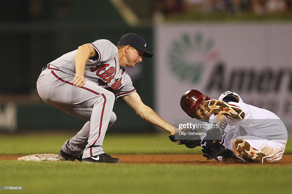 <a gi-track='captionPersonalityLinkClicked' href=/galleries/search?phrase=Yadier+Molina&family=editorial&specificpeople=172002 ng-click='$event.stopPropagation()'>Yadier Molina</a> #4 of the St. Louis Cardinals is tagged out by Chris Johnson #23 of the Atlanta Braves trying to stretch out a double in the eighth inning at Busch Stadium on August 23, 2013 in St. Louis, Missouri. The Cardinals beat the Braves 3-1.