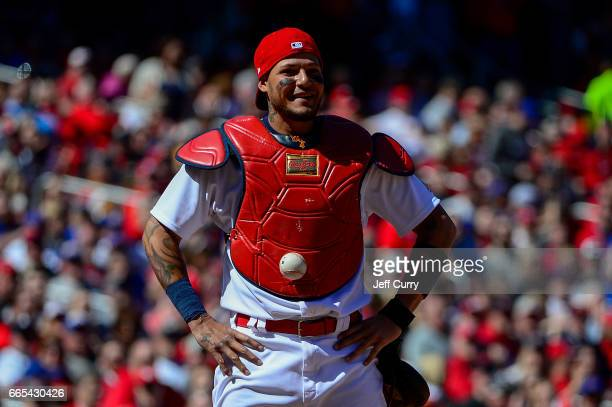 Yadier Molina of the St Louis Cardinals looks on after the ball got stuck to his chest protector allowing Matt Szczur of the Chicago Cubs to advance...