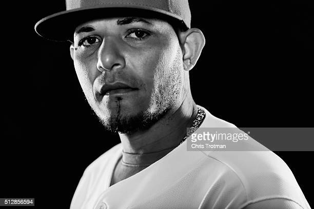 Yadier Molina of the St Louis Cardinals poses for a photograph at Spring Training photo day at Roger Dean Stadium on February 25 2016 in Jupiter...