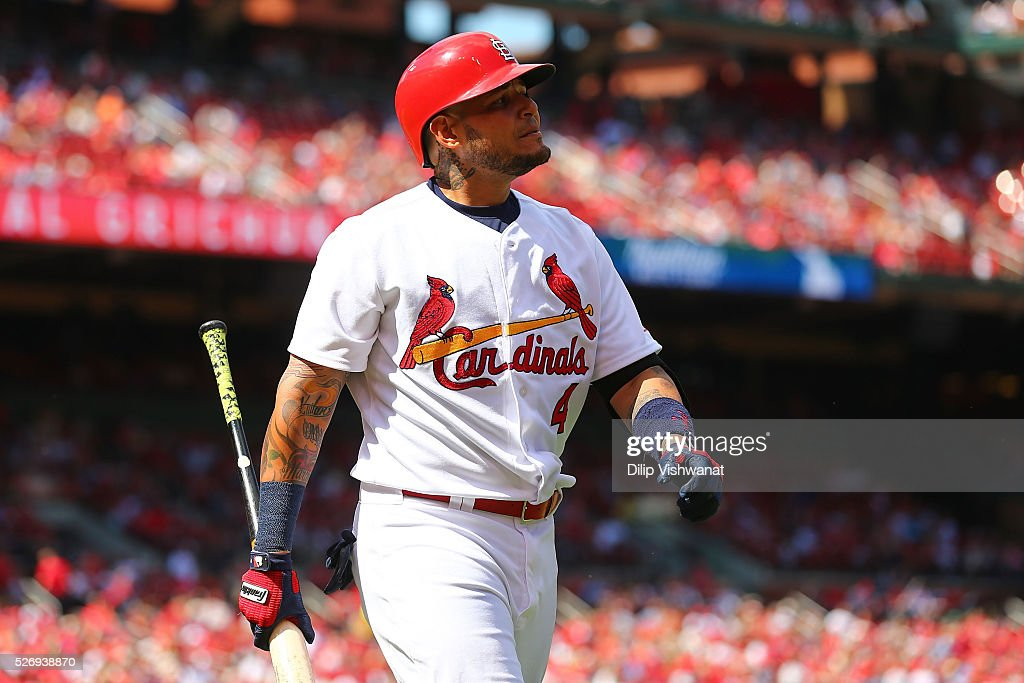 Yadier Molina #4 of the St. Louis Cardinals returns to the dugout after striking out against the Washington Nationals in the seventh inning at Busch Stadium on May 1, 2016 in St. Louis, Missouri.