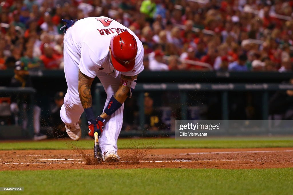 Yadier Molina #4 of the St. Louis Cardinals slams his bat after striking out against the Pittsburgh Pirates in the fourth inning at Busch Stadium on September 8, 2017 in St. Louis, Missouri.