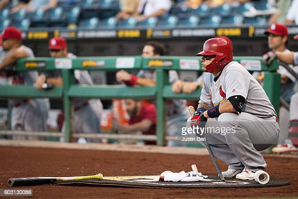 Yadier Molina of the St Louis Cardinals waits on deck during the game against the Pittsburgh Pirates at PNC Park on September 7 2016 in Pittsburgh...