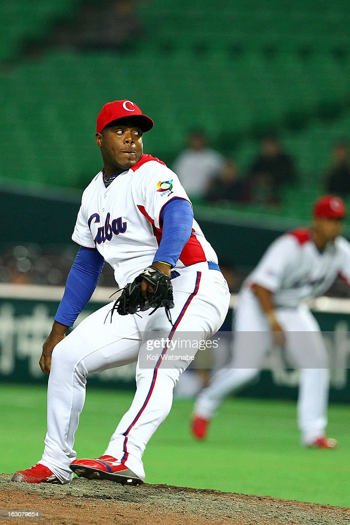 Yadier Pedroso #62 of Cuba in action during the World Baseball Classic First Round Group A game between Cuba and China at Fukuoka Yahoo! Japan Dome on March 4, 2013 in Fukuoka, Japan.
