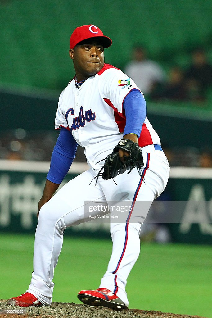 Yadier Pedroso #62 of Cuba pitches during the World Baseball Classic First Round Group A game between Cuba and China at Fukuoka Yahoo! Japan Dome on March 4, 2013 in Fukuoka, Japan.