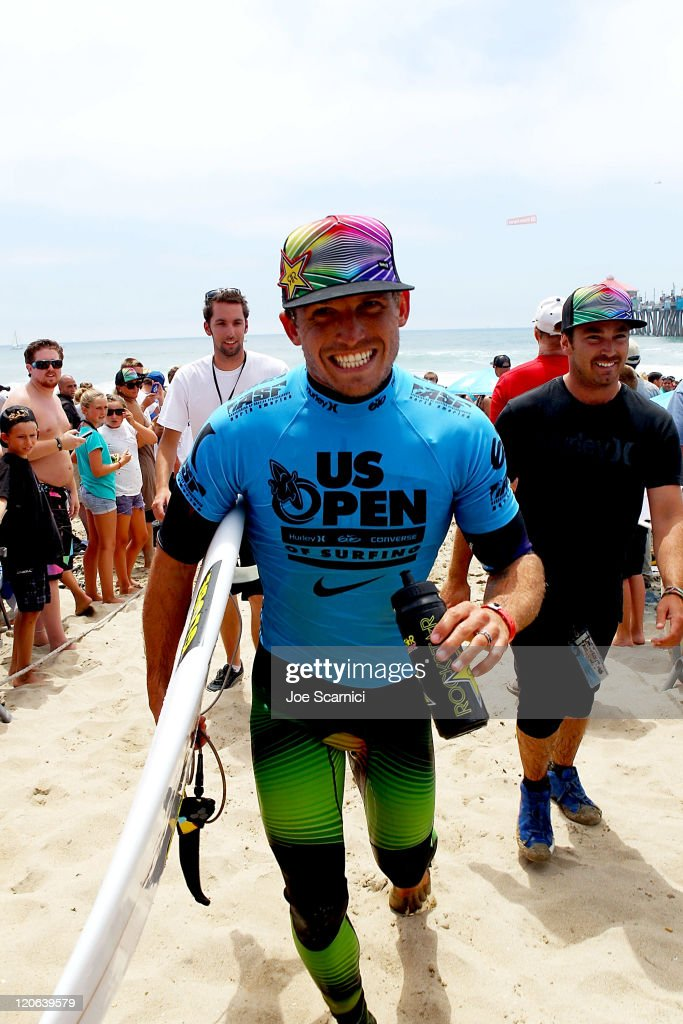 Yadin Nicol of Australia coming in after his final heat against Kelly Slater of USA at the Nike US Open of Surfing on August 7 2011 in Huntington...