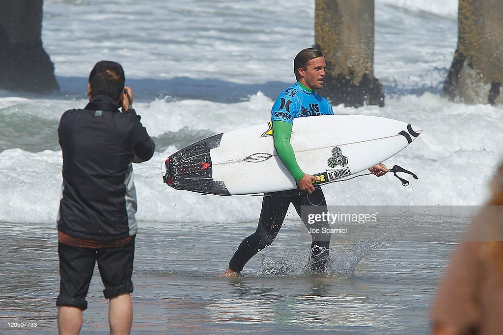 Yadin Nicol of Australia exits the water after winning his heat against Thiago Camarao of Brazil during the round of 12 heat 4 of the Nike US Open of...