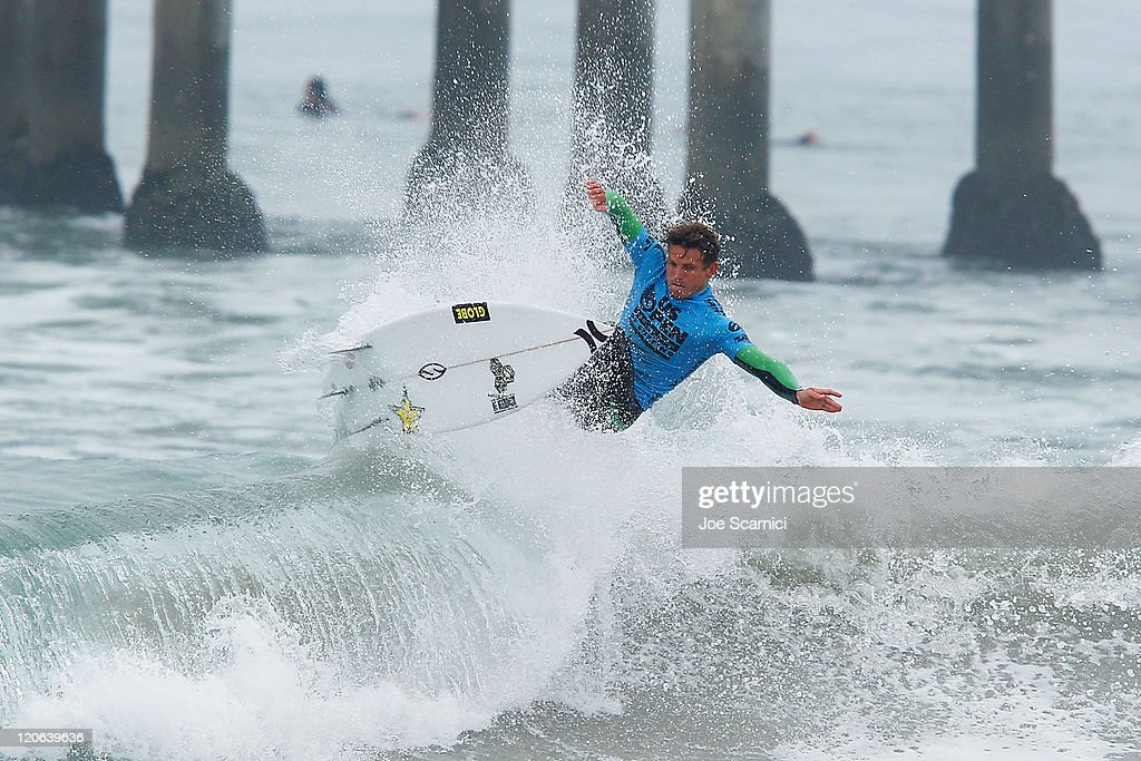 Yadin Nicol of Australia surfing in the mens quarter final against Royden Bryson of South Africa at the Nike US Open of Surfing on August 7 2011 in...