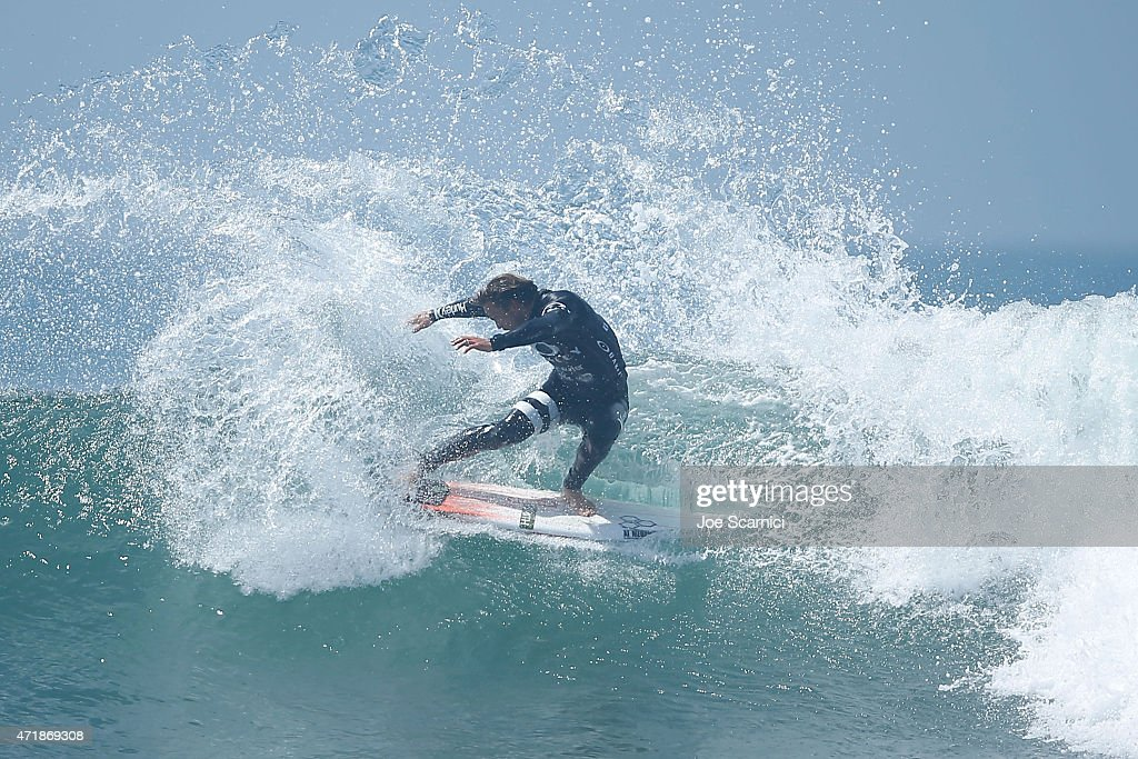Yadin Nicol of Australia throws his tail during his heat in the round of 16 during the Oakley Lower's Pro at Lower Trestles on May 1 2015 in San...
