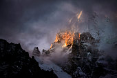 Yading nature reserve in china. snowy mountain illuminated by the sunlight