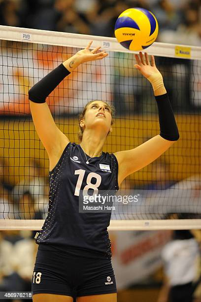 Yael Castiglione of Argentina in action during a warm up before the match between Argentina and South Korea during the FIVB Women's Volleyball World...
