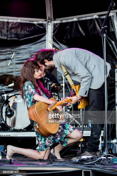 Yael Shoshana Cohen and Gil Landau of Lola Marsh perform on stage on day 1 of Primavera Sound 2014 on May 29 2014 in Barcelona Spain