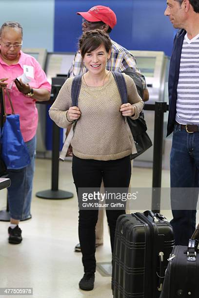 Yael Stone is seen at LAX on June 17 2015 in Los Angeles California