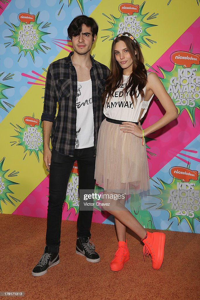 Yago Munoz and Macarena Achaga arrive at Kids Choice Awards Mexico 2013 at Pepsi Center WTC on August 31, 2013 in Mexico City, Mexico.