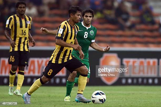 Yahia Alshehri of Saudi Arabia battles with Safiq Rahim of Malaysia during the 2018 Russia FIFA World Cup and 2019 UAE Asian Cup Preliminary Round 2...
