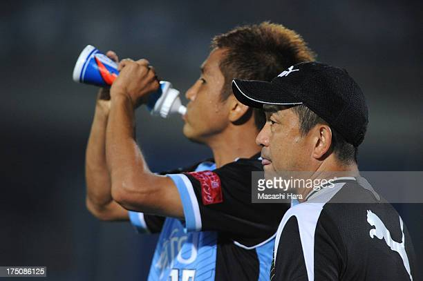 Yahiro Kazama coach of Kawasaki Frontale looks on during the JLeague match between Kawasaki Frontale and Shonan Bellmare at Todoroki Stadium on July...