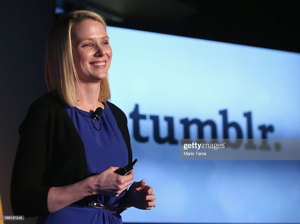 Yahoo! CEO Marissa Mayer speaks about the company's acquisition of Tumblr at a press conference in Times Square on May 20, 2013 in New York City. The internet giant Yahoo! purchased the blogging site Tumblr for $1.1 billion. Mayer also announced a sleek new redesign of Yahoo!'s Flickr photo service.