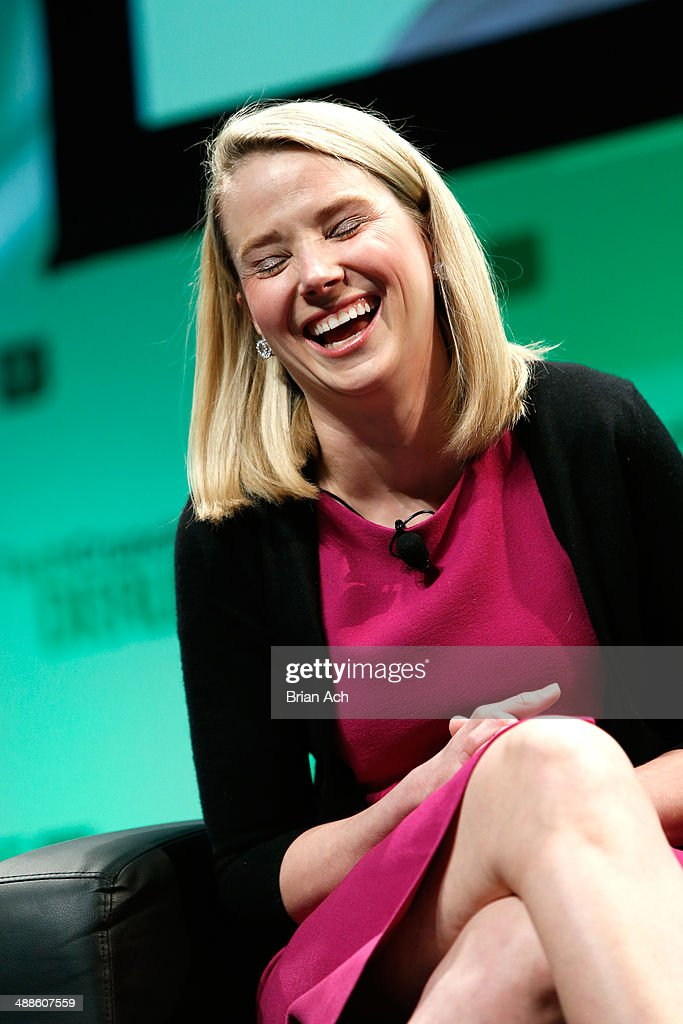 Yahoo! CEO, <a gi-track='captionPersonalityLinkClicked' href=/galleries/search?phrase=Marissa+Mayer&family=editorial&specificpeople=5577875 ng-click='$event.stopPropagation()'>Marissa Mayer</a> speaks at TechCrunch Disrupt NY 2014 - Day 3 on May 7, 2014 in New York City.
