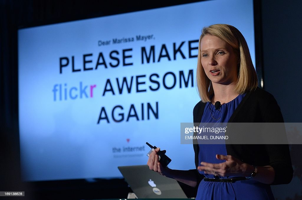 Yahoo CEO Marissa Mayer speaks during an announcement that Yahoo acquired the Tumblr blogging site in order to upgrade its Flickr site, in New York, May 20, 2013. Yahoo announced a $1.1 billion deal for blogging site Tumblr aiming to help Yahoo to tap into the younger, active online user base at Tumblr. AFP PHOTO/Emmanuel Dunand