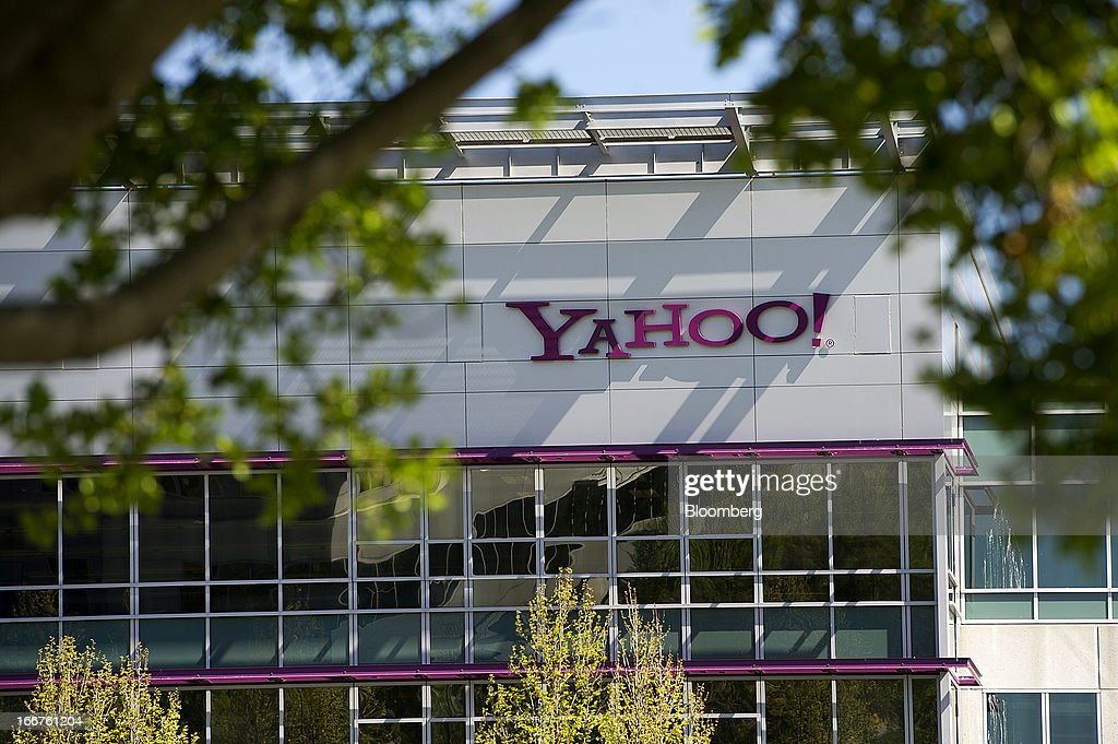 Yahoo! Inc. signage is displayed at the company's headquarters in Sunnyvale, California, U.S., on Tuesday, April 16, 2013. Yahoo! Inc., the biggest U.S. Web portal, forecast sales that fell short of analysts' estimates as it continued to lose advertisers to Google Inc. and Facebook Inc. Photographer: David Paul Morris/Bloomberg via Getty Images