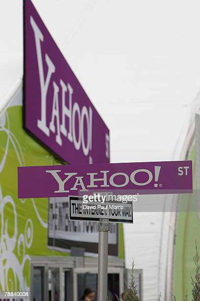 Yahoo logos are seen at the 2008 International Consumer Electronics Show at the Las Vegas Convention Center January 8 2008 in Las Vegas Nevada CES...