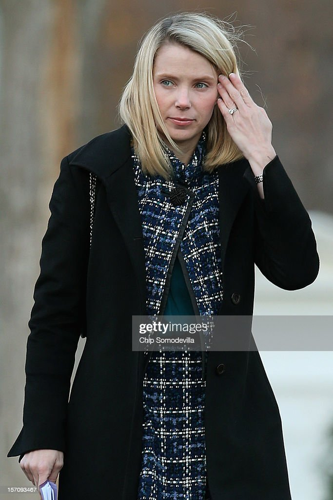 Yahoo! President and CEO <a gi-track='captionPersonalityLinkClicked' href=/galleries/search?phrase=Marissa+Mayer&family=editorial&specificpeople=5577875 ng-click='$event.stopPropagation()'>Marissa Mayer</a> arrives at the White House for a meeting with President Barack Obama and other business leaders November 28, 2012 in Washington, DC. According to the White House, the American business executives met with Obama to discuss economic growth and deficit reduction.