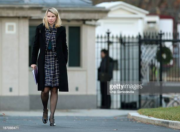 Yahoo President and CEO Marissa Mayer arrives at the White House for a meeting with President Barack Obama and other business leaders November 28...