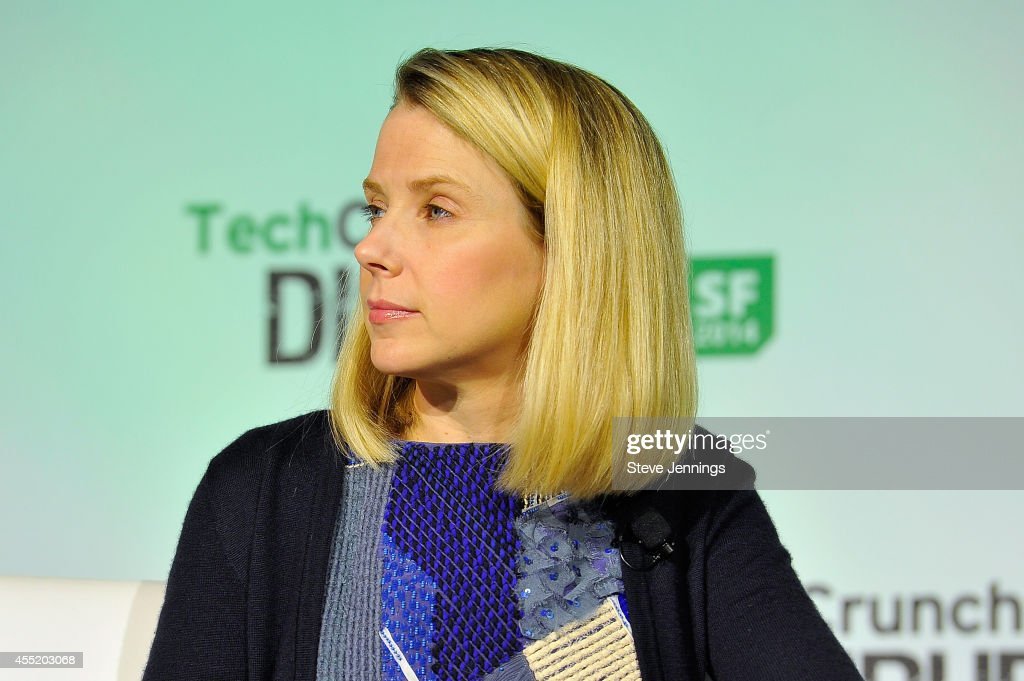 Yahoo! President and CEO <a gi-track='captionPersonalityLinkClicked' href=/galleries/search?phrase=Marissa+Mayer&family=editorial&specificpeople=5577875 ng-click='$event.stopPropagation()'>Marissa Mayer</a> judges onstage the Startup Battlefield Finals at TechCrunch Disrupt at Pier 48 on September 10, 2014 in San Francisco, California.