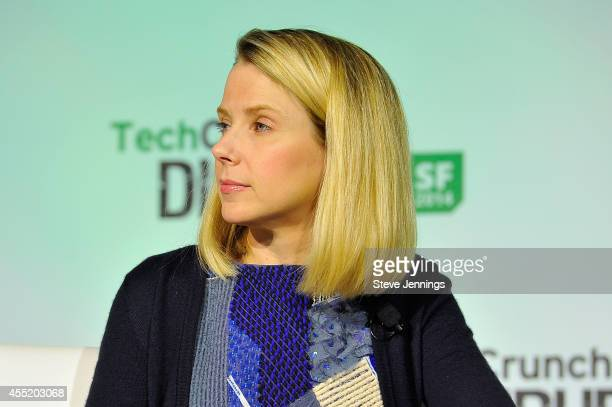 Yahoo President and CEO Marissa Mayer judges onstage the Startup Battlefield Finals at TechCrunch Disrupt at Pier 48 on September 10 2014 in San...