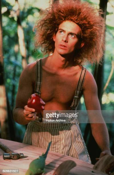 Yahoo Serious with an apple in a scene from the Warner Bros movie 'Young Einstein' circa 1988