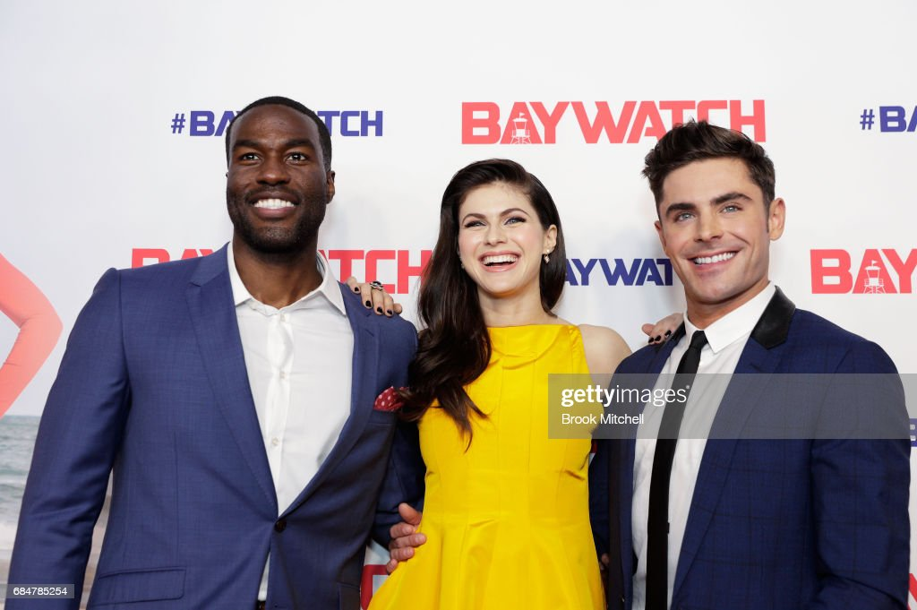 Yahya Abdul-Mateen, Alexandra Daddario and Zac Efron attend the Australian premiere of 'Baywatch' at Hoyts EQ on May 18, 2017 in Sydney, Australia.